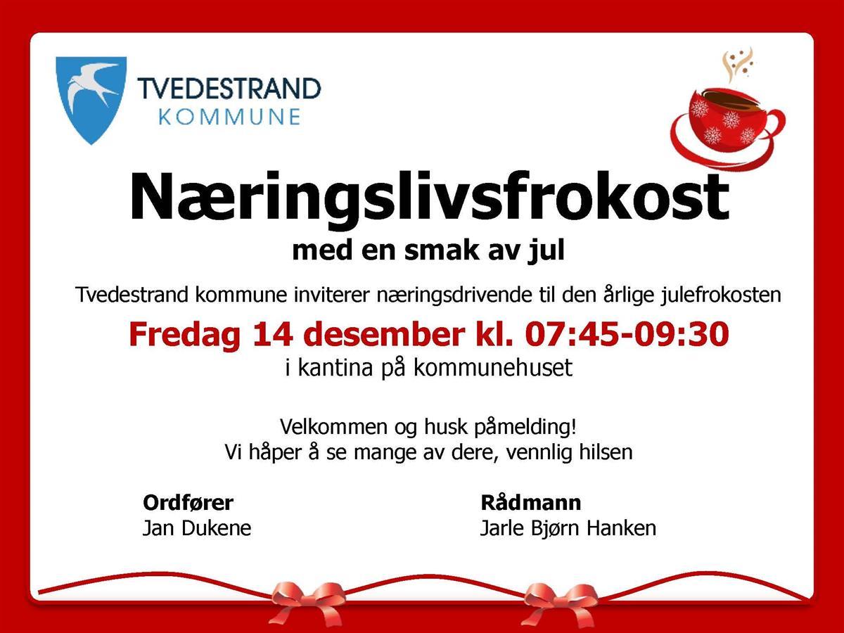 Naeringslivsfrokost Med En Smak Av Jul Tvedestrand Kommune